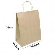 Sacola de papel Kraft Natural - 30,5x38x11,5cm - 10 unidades 90g