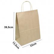 Sacola de papel Kraft Natural - 39,5x33x13,5cm - 10 unidades 90g