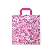 Sacola plástica Alça Fita Estampada - Coração Bco/Pink - 30x30cm - Pacote 54 unid (1 KG)
