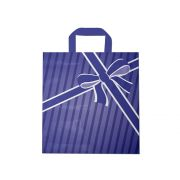 Sacola plástica Alça Fita Estampada - Laço azul - 30x45cm - Pacote 54 unid (1 KG)
