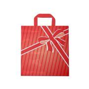 Sacola plástica Alça Fita Estampada - Laço vermelho - 40x40cm - Pacote 30 unid (1 KG)