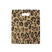 Sacola plástica Boca de Palhaço Estampada - Onça Dourado/Prt - 20x30cm - Pacote 100 unid (1 KG)