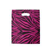 Sacola plástica Boca de Palhaço Estampada - Zebrada Pink/Prt - 30x40cm - Pacote 50 unid (1 KG)