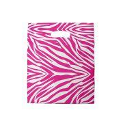 Sacola plástica Boca de Palhaço Estampada - Zebrada Bco/Pink - 30x40cm - Pacote 50 unid (1 KG)