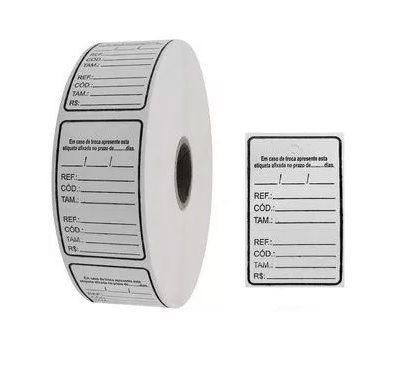 Etiqueta Tag Dupla Auto-adesiva (Rolo) (Pacote 1.000 unid)