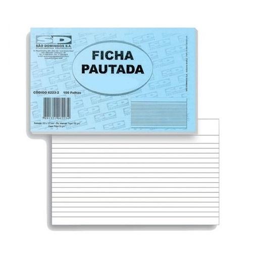 Ficha Pautada - 5x8cm - Branco - 100 Folhas (Pacote 100 unid)