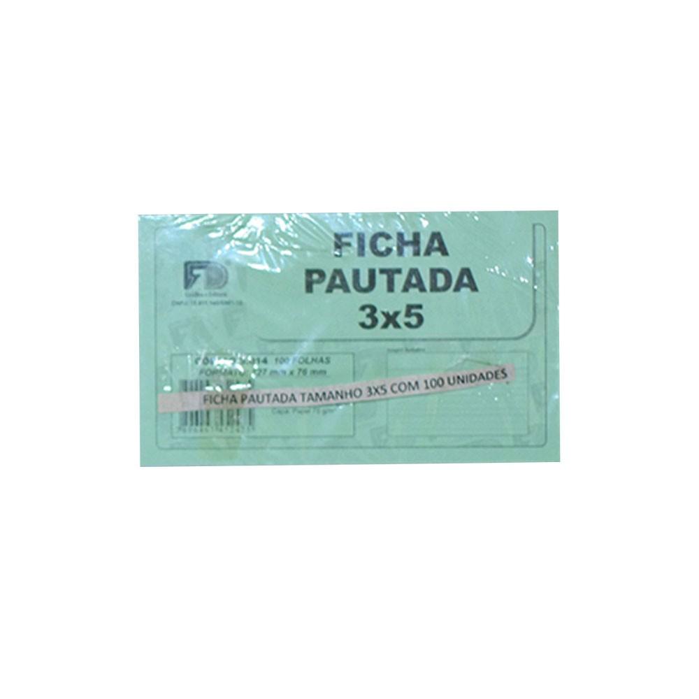 Ficha Pautada - 3x5cm - Branco - 100 Folhas (Pacote 100 unid)