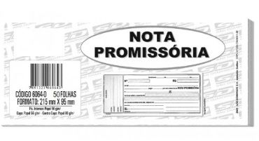 Nota Promissoria Grande - 21,5x9,4cm - Com 50 Folhas (20 Unidades) (Pacote Total 1.000 folhas)