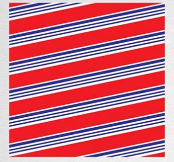 Papel de Presente - Bobina Couchê - 40 | 60cm x 90m Vermelho Com Listra Azul