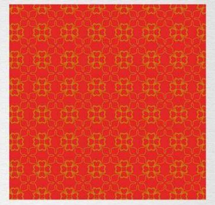 Papel de Presente - Bobina Couchê - 40cm x 90m Neutro Vermelho Com Dourado