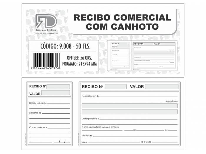 Recibo Comercial c/ Canhoto - 21,5x9,4cm - c/50 Folhas (20unidades) (Pacote Total 1.000 folhas)