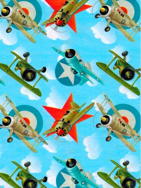 Saco de Presente Metalizado - Aviões de Combate 30x45 (50 unidades)