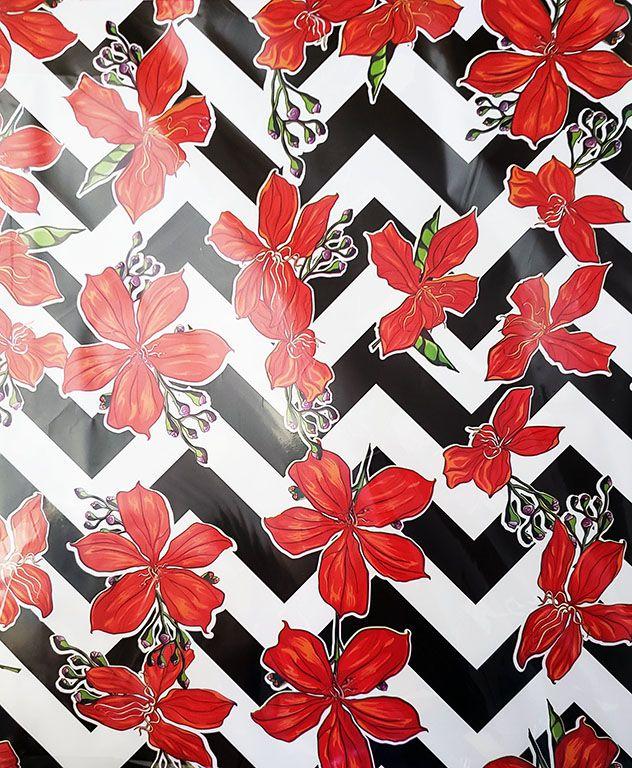Saco de Presente Metalizado - Chevron Floral 25x37 | 30x45 (50 unidades)
