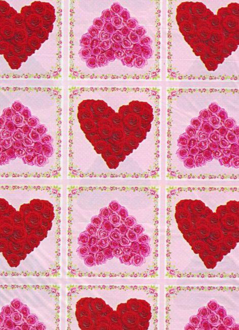 Saco de Presente Metalizado - Corações de Rosas 20x30 (50 unidades)
