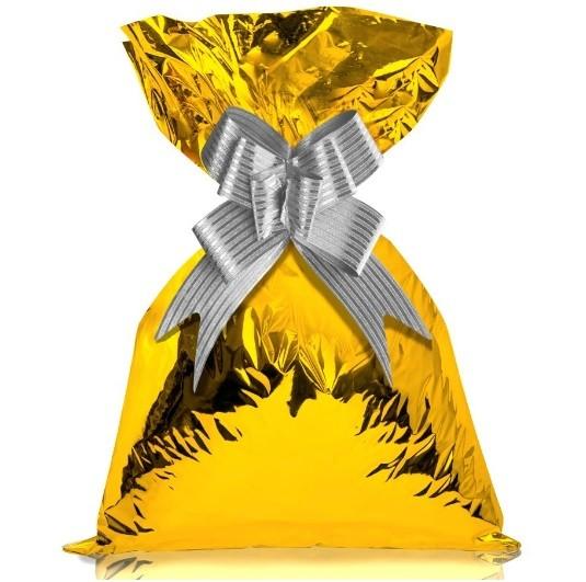 Saco de Presente Metalizado Dourado 50 Unidades