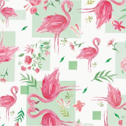 Saco de Presente Metalizado - Flamingos 25x37 (50 unidades)