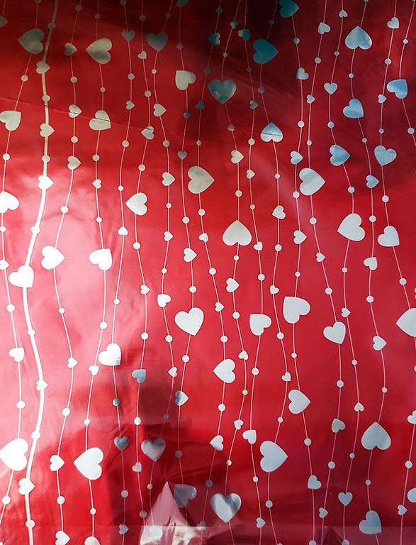 Saco de Presente Metalizado - Line Heart 25x37   30x45 (50 unidades)