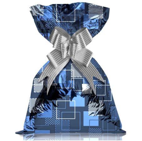 Saco de Presente Metalizado - Quadrado Azul 20x30 (50 unidades)
