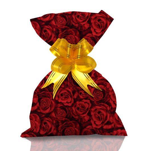 Saco de Presente Metalizado - Rosas Vermelhas 30x45 (50 unidades)