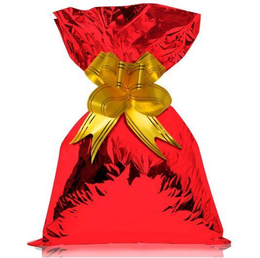 Saco de Presente Metalizado - Vermelho 25x37 (50 unidades)
