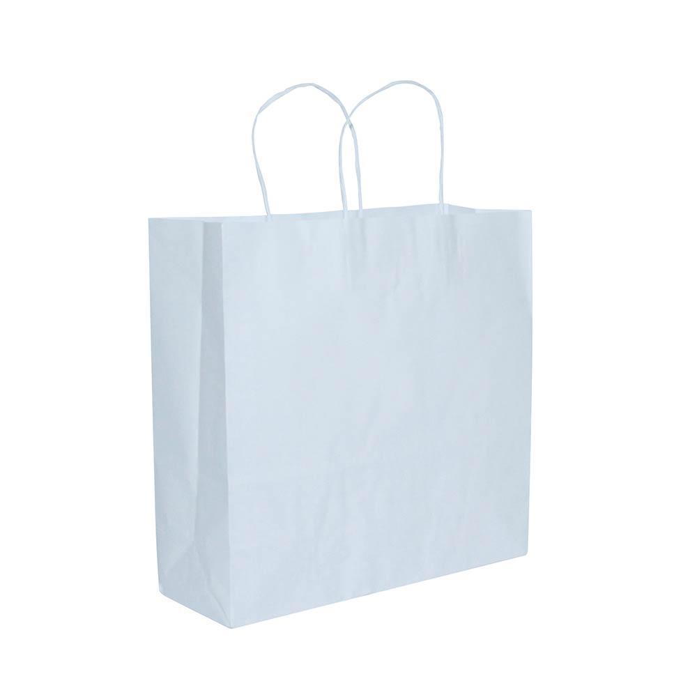 Sacola de papel Kraft - Branco - 31x31cm - Pacote 10 unidades (Gramatura 90g)
