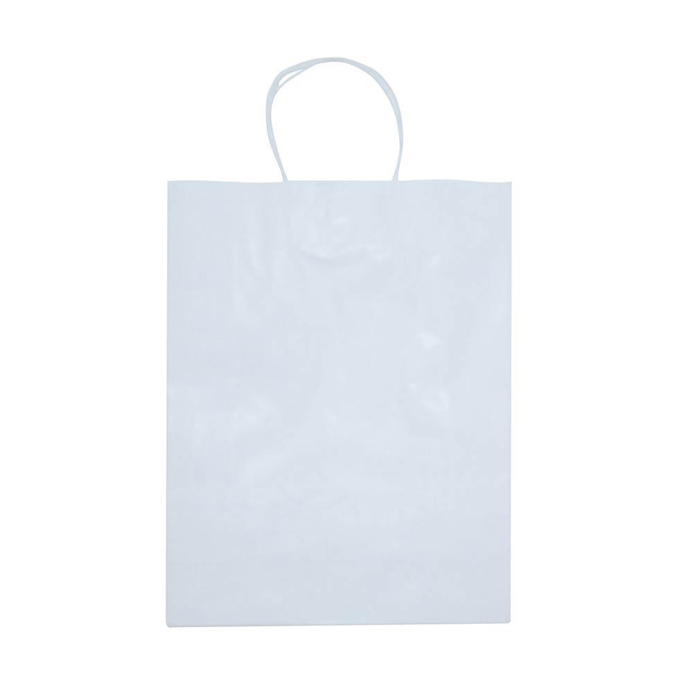Sacola de papel Kraft - Branco - 31x39cm - Pacote 10 unidades (Gramatura 90g)