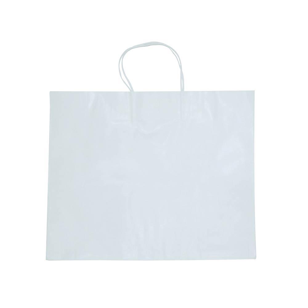 Sacola de papel Kraft - Branco - 40x33cm - Pacote 10 unidades (Gramatura 90g)