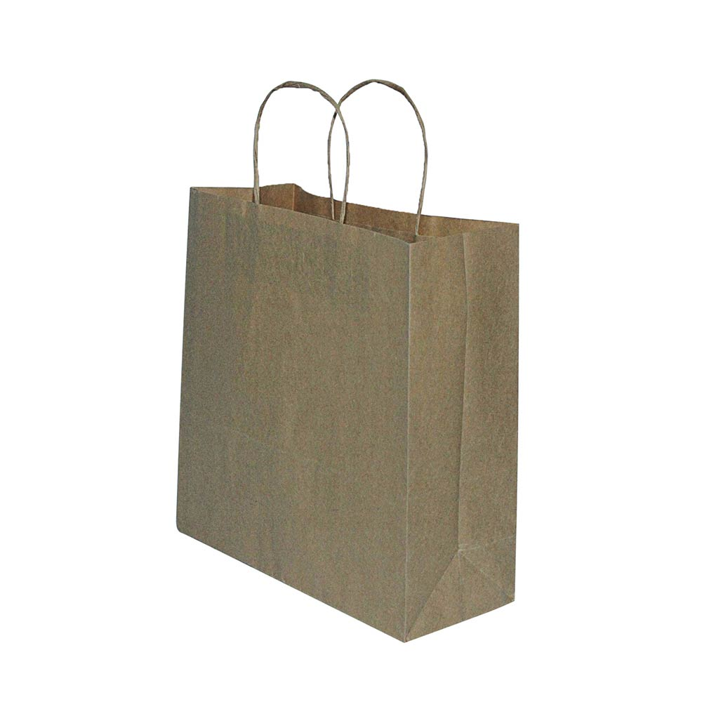 Sacola de papel Kraft - Natural - 18x22X8,5cm - Pacote 10 unidades (Gramatura 90g)