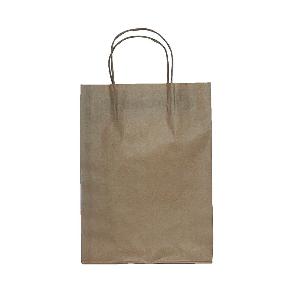 Sacola de papel Kraft - Natural - 24x33x10cm - Pacote 10 unidades (Gramatura 90g)
