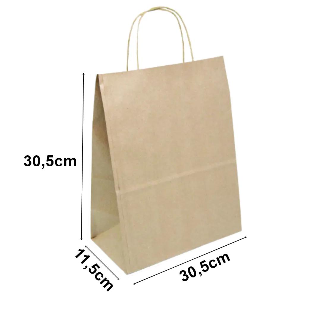 Sacola de papel Kraft Natural - 30,5x30,5x11,5cm - 10 unidades 90g