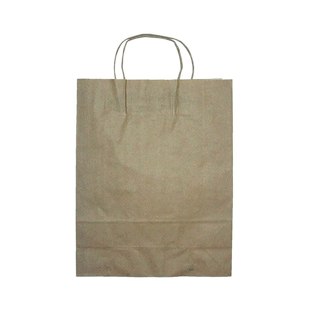 Sacola de papel Kraft - Natural - 30x38x11,5cm - Pacote 10 unidades (Gramatura 90g)