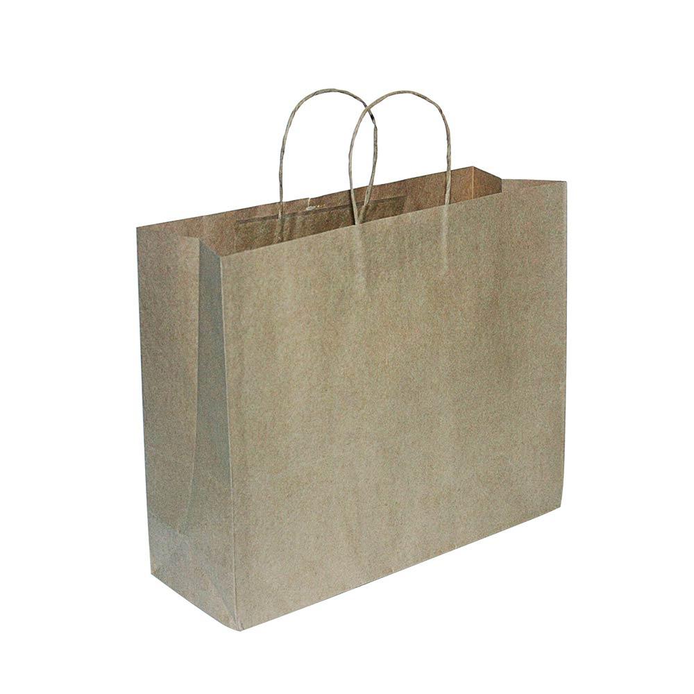 Sacola de papel Kraft - Natural - 40x33x13,5cm - Pacote 10 unidades (Gramatura 90g)