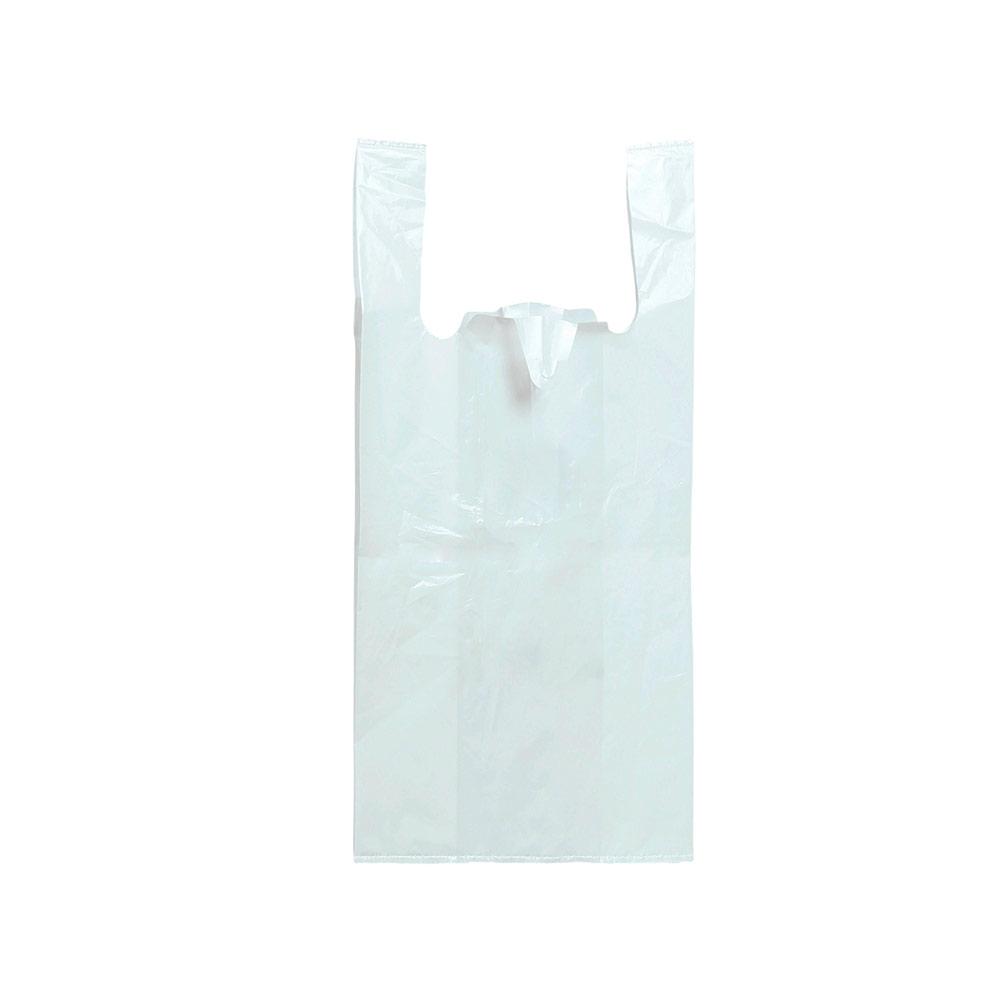 Sacola plástica Alça Camiseta de Alta Densidade - Branco - 90x100cm - Pacote 90 unid (5KG)
