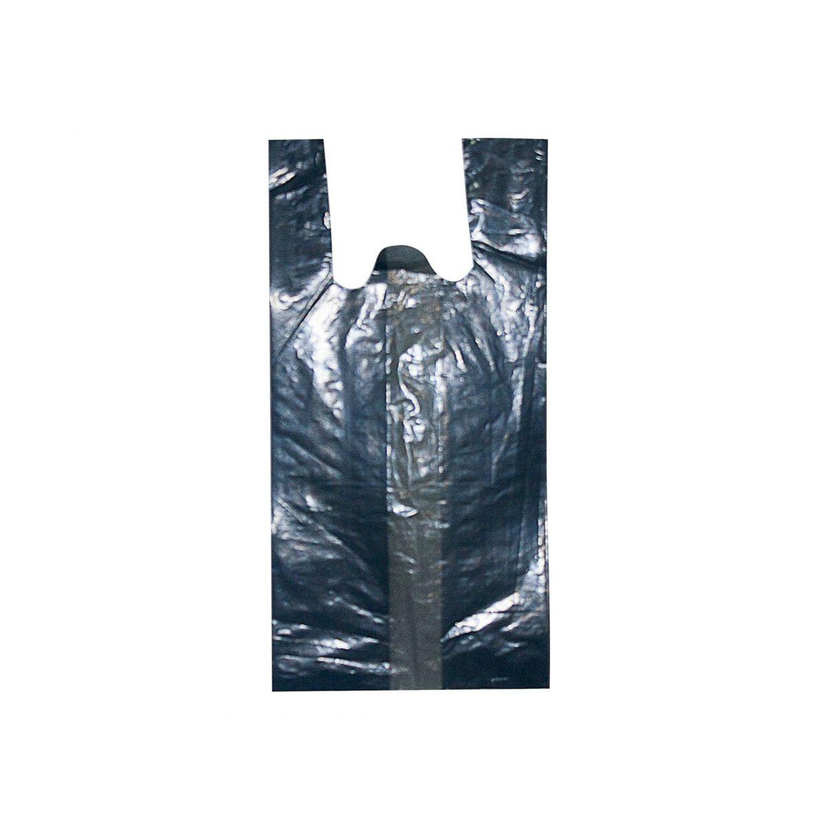Sacola plástica Alça Camiseta - Preta Reciclada - 50x70cm - Pacote 135 unid (5 KG)