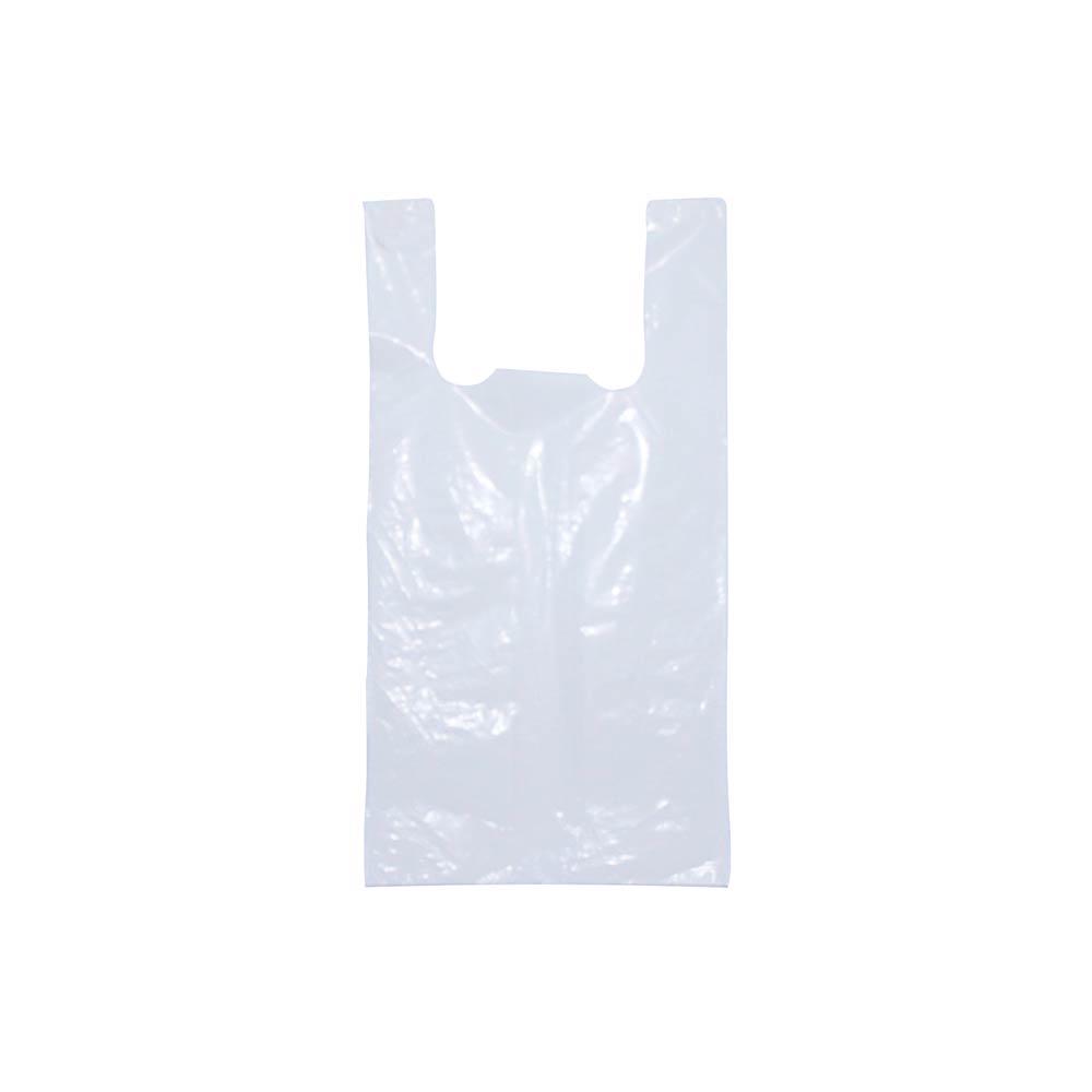 Sacola plástica Alça Camiseta - Reciclada Alvejada - 35x45cm - Pacote 405 unid (5 KG)