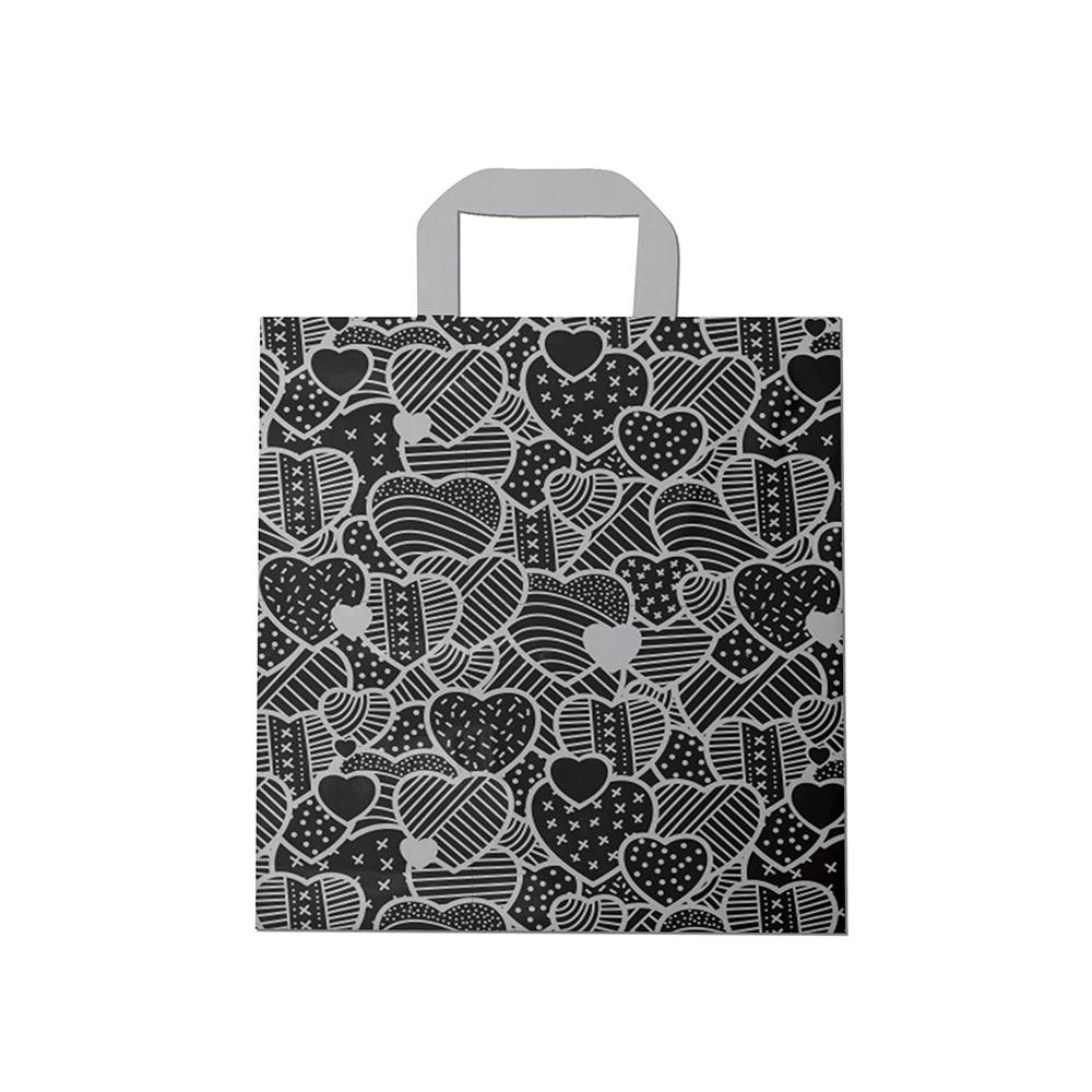 Sacola plástica Alça Fita Estampada - Coração Preto/Prata - 30x30cm - Pacote 54 unid (1 KG)