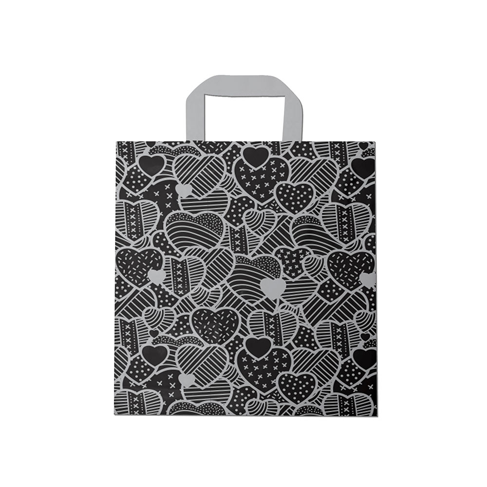 Sacola plástica Alça Fita Estampada - Coração Preto/Prata - 40x40cm - Pacote 30 unid (1 KG)