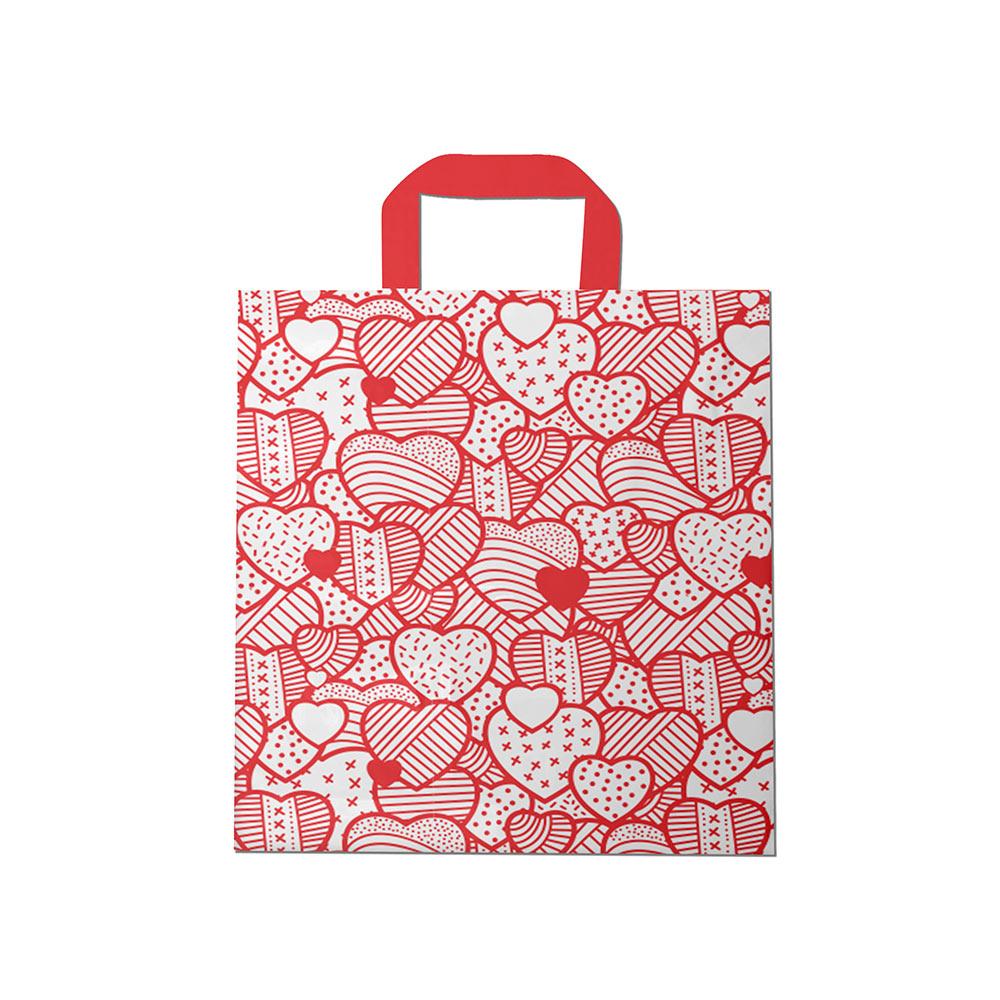 Sacola plástica Alça Fita Estampada - Coração Bco/Vermelho - 30x30cm - Pacote 54 unid (1 KG)