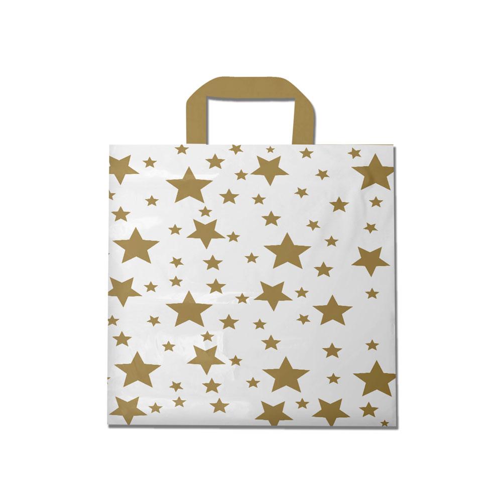 Sacola plástica Alça Fita Estampada - Estrelada Bco/Dourado - 40x50cm - Pacote 30 unid (1 KG)
