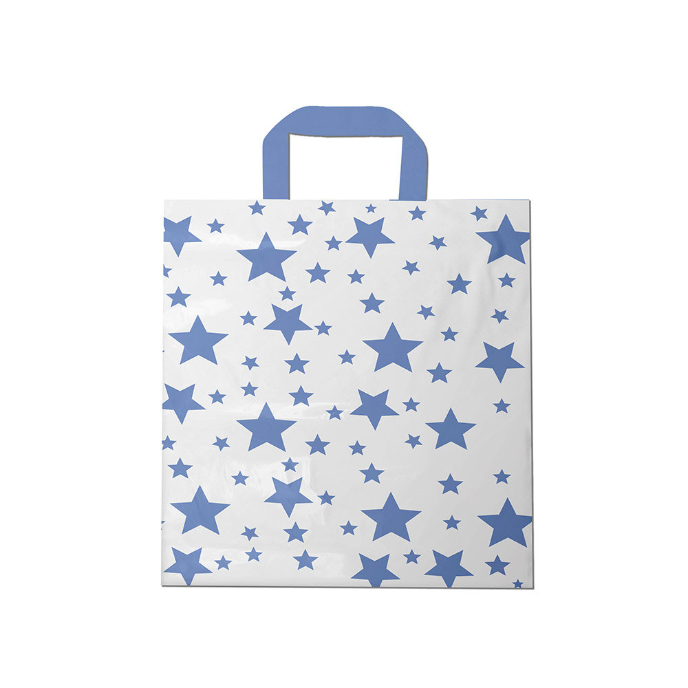Sacola plástica Alça Fita Estampada - Estrelada Bco/Lilás - 40x50cm - Pacote 30 unid (1 KG)