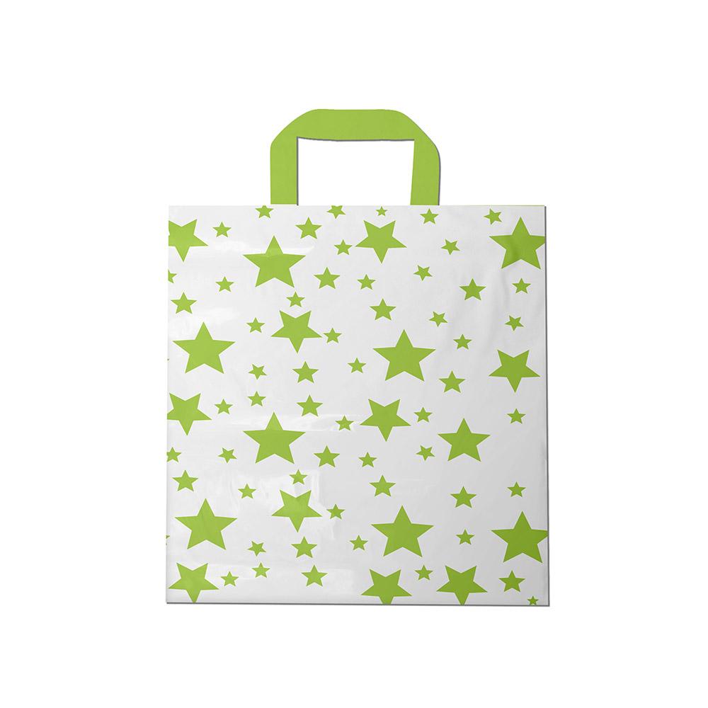 Sacola plástica Alça Fita Estampada - Estrelada Bco/Verde - 40x50cm - Pacote 30 unid (1 KG)
