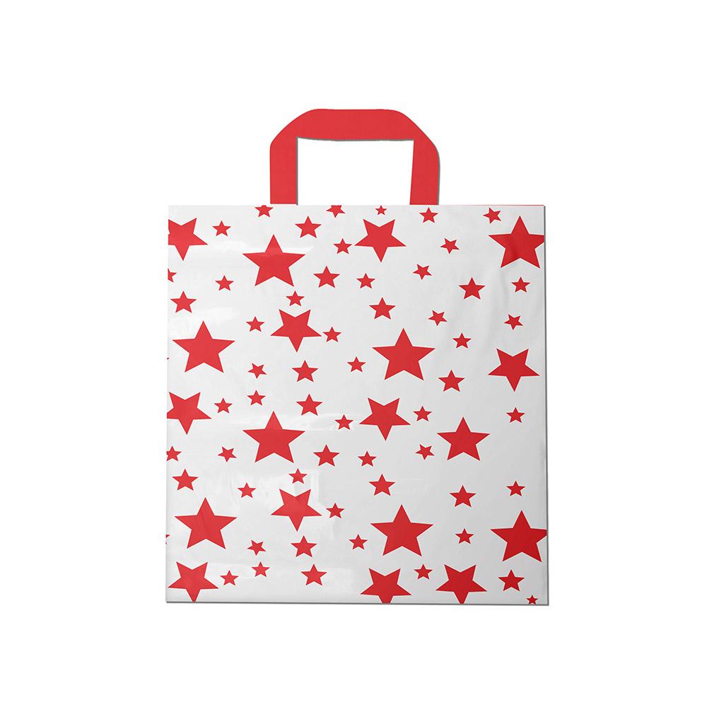 Sacola plástica Alça Fita Estampada - Estrelada Bco/Vermelho - 40x50cm - Pacote 30 unid (1 KG)