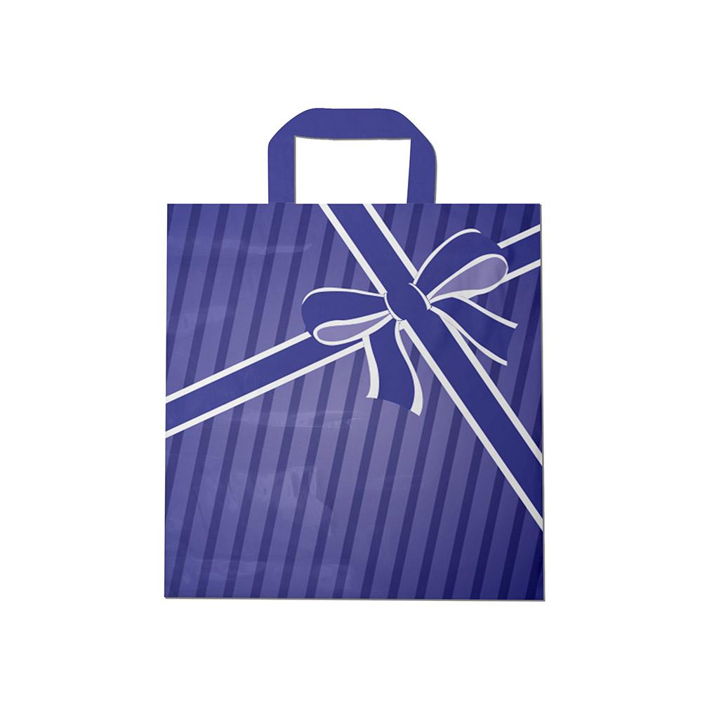 Sacola plástica Alça Fita Estampada - Laço azul - 40x50cm - Pacote 30 unid (1 KG)