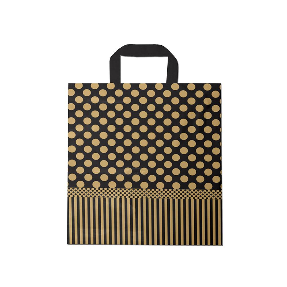 Sacola plástica Alça Fita Estampada - Poa Dourado/Prt - 40x40cm - Pacote 30 unid (1 KG)