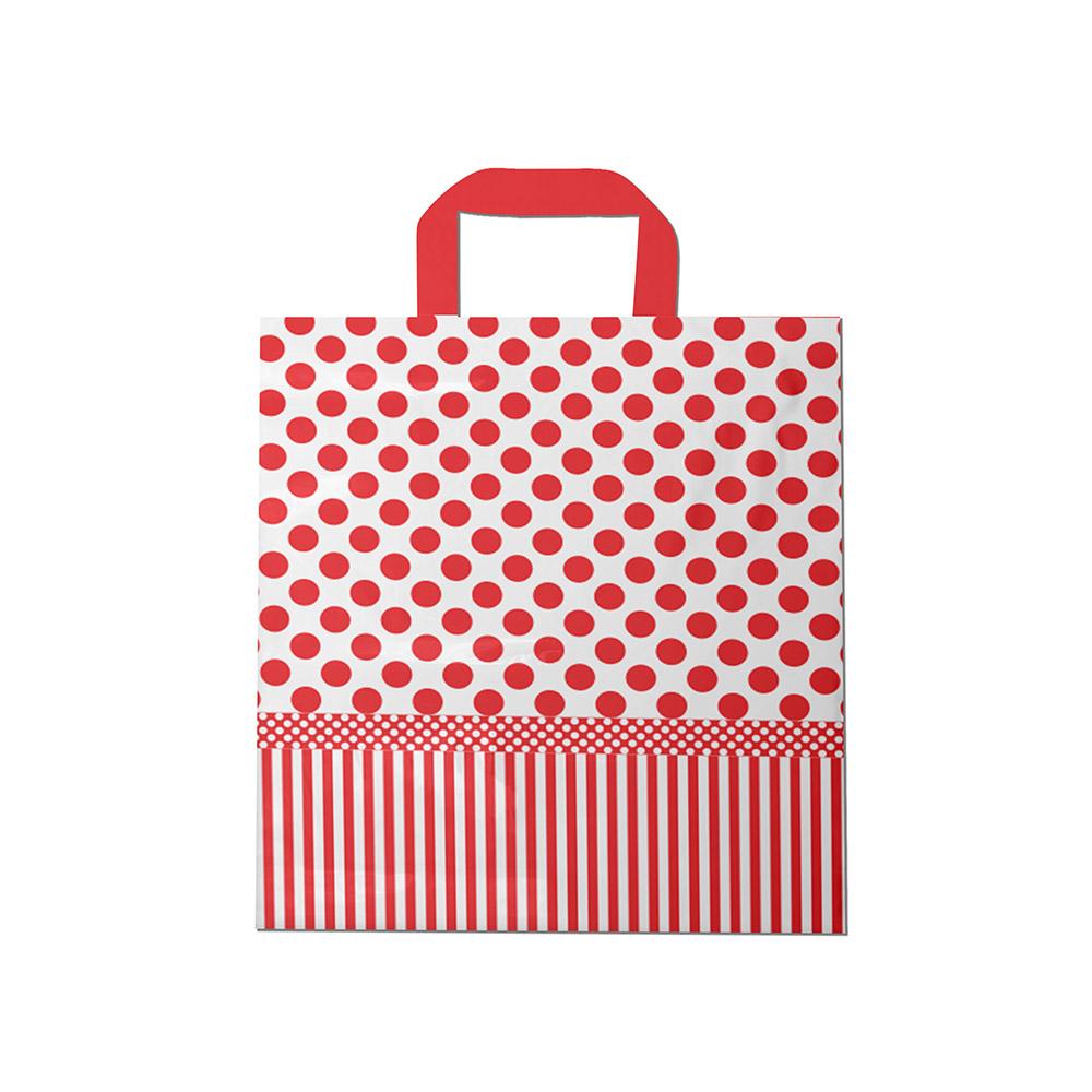 Sacola plástica Alça Fita Estampada - Poa Bco/Vermelho - 40x40cm - Pacote 30 unid (1 KG)