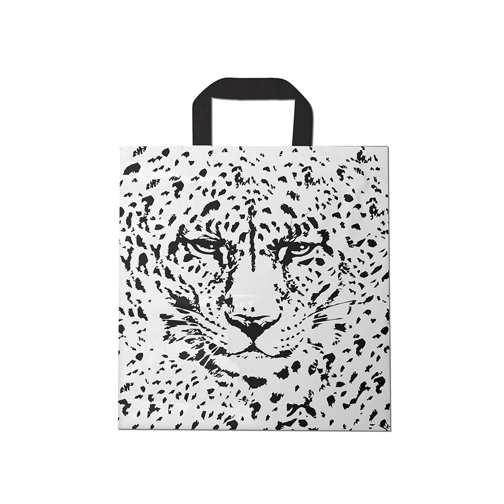 Sacola plástica Alça Fita Estampada - Tigre Branco/Prt - 40x40cm - Pacote 30 unid (1 KG)