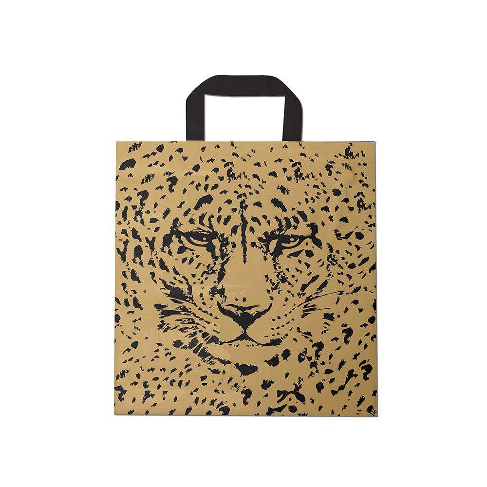 Sacola plástica Alça Fita Estampada - Tigre Dourado/Prt - 40x40cm - Pacote 30 unid (1 KG)