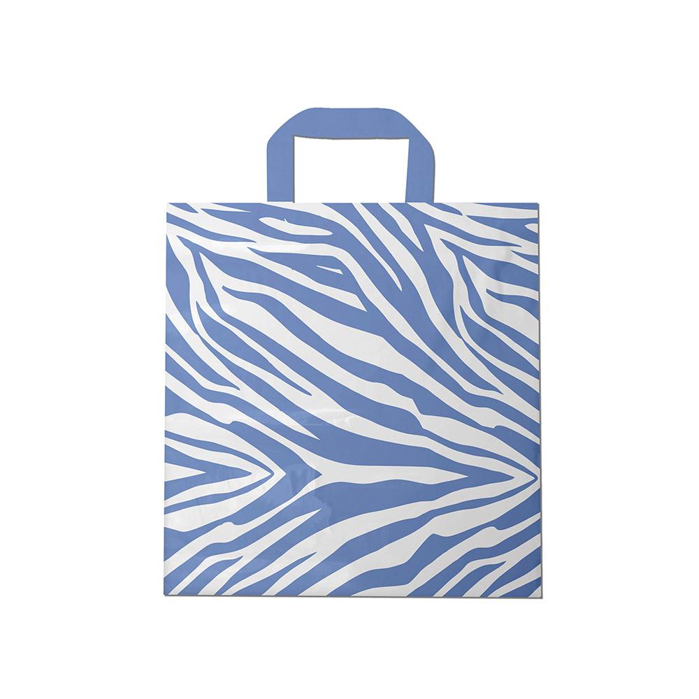 Sacola plástica Alça Fita Estampada - Zebrada Bco/Lilás - 30x30cm - Pacote 54 unid (1 KG)