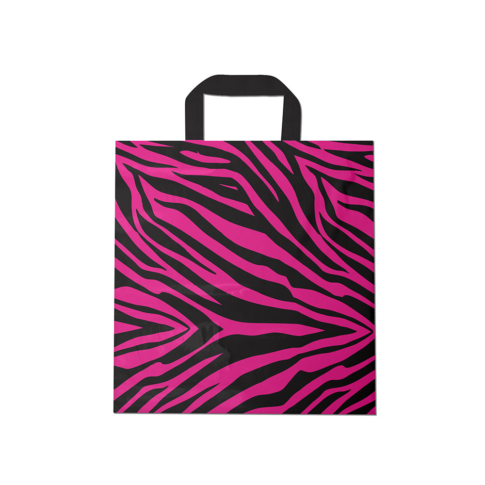 Sacola plástica Alça Fita Estampada - Zebrada Pink/Prt - 30x30cm - Pacote 54 unid (1 KG)