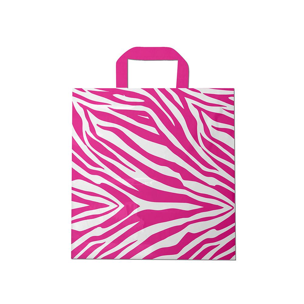 Sacola plástica Alça Fita Estampada - Zebrada Bco/Rosa - 40x50cm - Pacote 30 unid (1 KG)